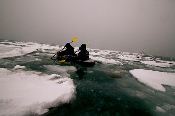 Bjorn and Kim force their way through the ice pans in the double duck.