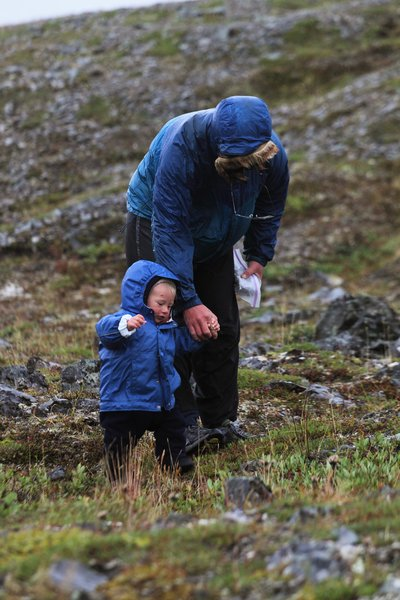 Walking with dad, in the rain