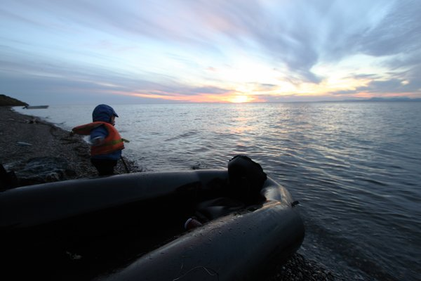 """Done boat.""  Sun sets on our <a href=""http://www.groundtruthtrekking.org/Journeys/ToddlingArcticShores.html"">journey on the shore near Kotzebue</a>"