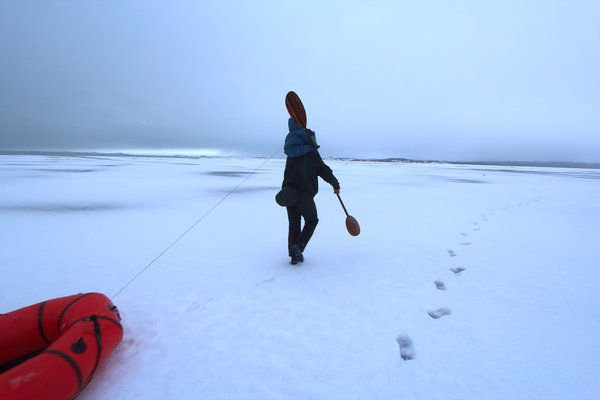 It might seem odd to be walking across a vast plain of snow, towing a raft, with a toddler on your shoulders.  Really it made sense at the time though.