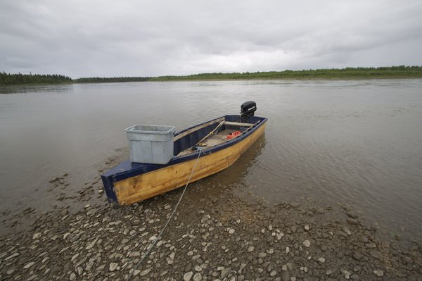 In the upriver village of Stony River many people build their own river boats that seem perfectly suited  to their needs.