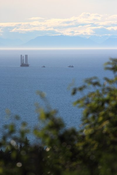 We watched this bizarre vessel get towed by on its way to Homer.  Eventually it will be moved to upper Cook Inlet to drill oil and gas exploration wells.