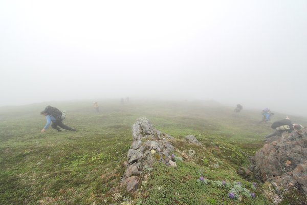 Steep slopes in dense fog provided plenty of navigational entertainment.