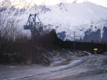 Coal dust blows in winter winds in Seward, 18 December 2010.