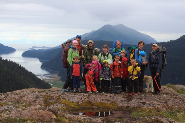 Seldovia kids hiking group poses on Lunch Mountain