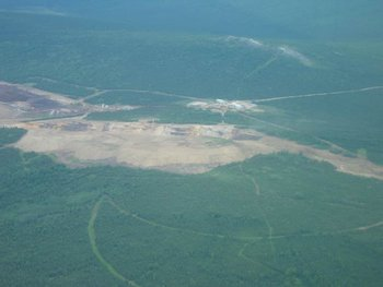 The mine during reclamation in 2004