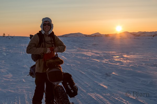 The sun sets while Bjørn and Kim pause on the Kaltag Portage.