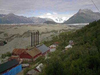 Remnants of the Kennecott Mine with the Kenicott Glacier behind