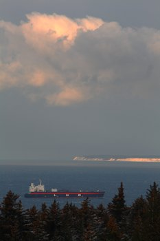 An LNG tanker enters Kachemak Bay, likely to wait for weather and tide ideal for docking in Nikiski.