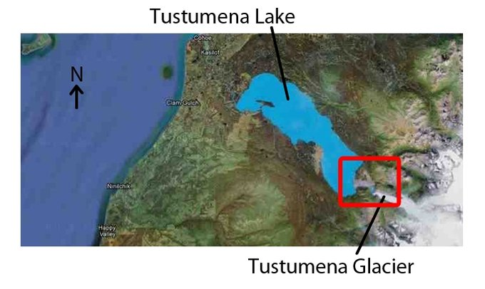 Map of Tustumena Lake and Glacier