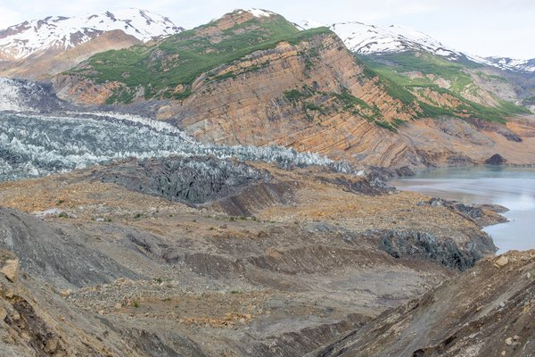 Standing in the middle of the landslide affords a tremendous view of an impossibly large event. This landslide occurred in October 2015. Some of the material slid onto the snout of the Tyndall Glacier but much of it landed in the fjord, which caused a massive tsunami.
