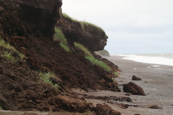 Dark brown peat that has stored carbon for millenia erodes into the Chuckchi Sea.