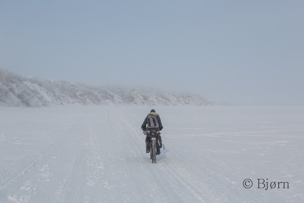 Kim rides on the sea ice offshore of the Baldwin Peninsula through morning ice fog.