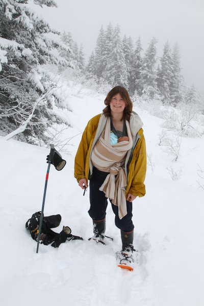 Nursing while snowshoeing