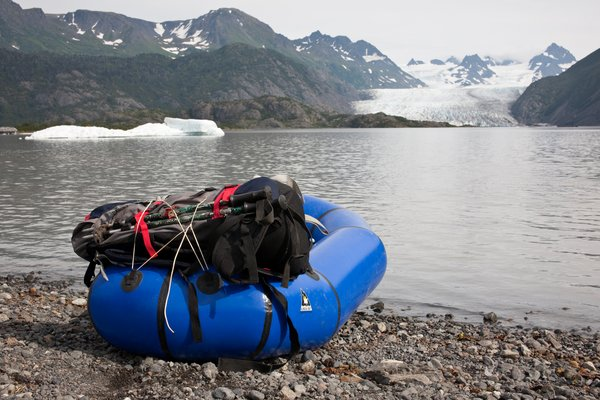 A loaded pack raft ready to depart upon our final leg of the journey to Grewinck glacier