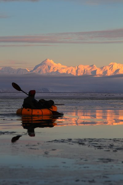 A rare calm morning on the Copper River Delta in December