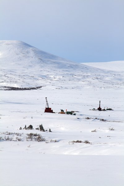 Drilling rigs at the Pebble Mine prospect (March 2008)