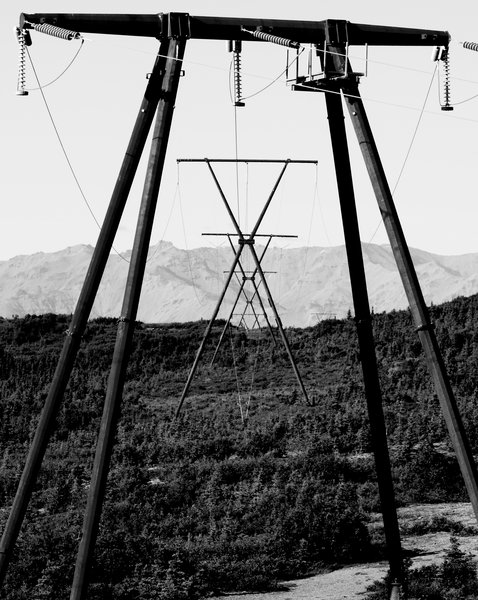 In the mountains near Healy, these wires are part of the grid that extends from the Kenai Peninsula to Fairbanks