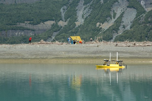 This small, remote control boat, maps the sea floor in front of the Taan Fjord camp. This area is full of kettles and was overrun with sediment from the October, 2016 landslide generated tsunami.