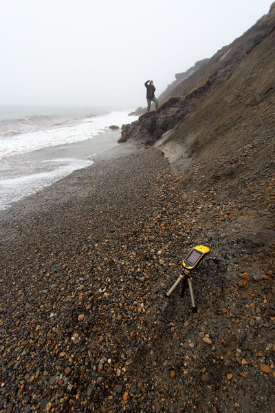 There wasn't much room on this narrow beach to set up a GPS survey point.
