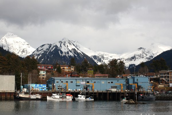 Boats line the channel in Sitka