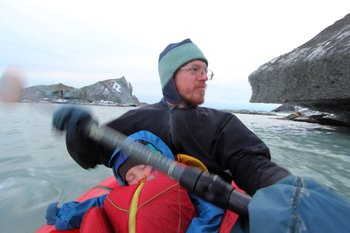 Katmai slept beneath the swing of Hig's Paddle as we skirted the ice-cliff edge of Malaspina Lake.