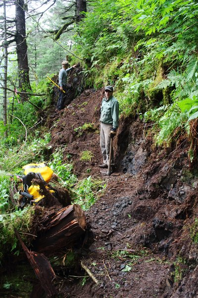A near-vertical rock slope covered in brush was one of the first obstacles we confronted building the trail up from Taylor Bay.