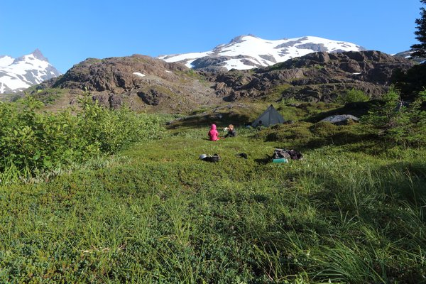 Camping in the tundra playground in upper Tutka valley