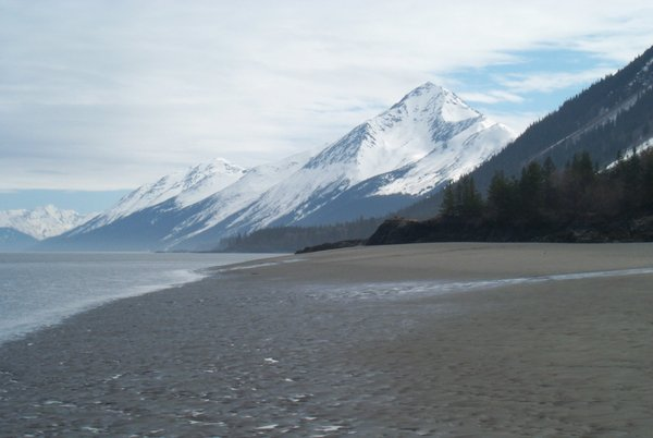 The south side of Turnagain Arm, looking up the bay from between Hope and Sunrise.