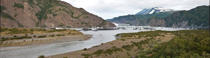 A panoramic view of Tustumena Glacier