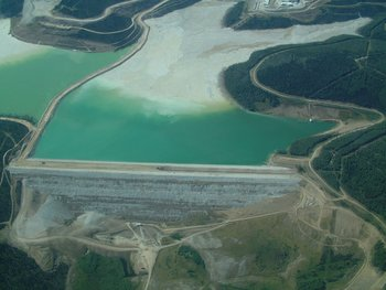 Earthen tailings impoundment dam at Fort Knox gold mine in Alaska