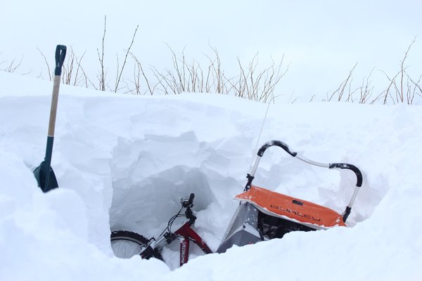 We need a blizzard-proof parking spot!  Left for 2 days, I had to dig my bike out from a drift of head-high snow.