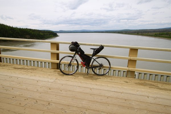 Bike and light weight kit including five days of food at the Yukon River.