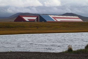 These zinc and lead concentrate storehouses are some of the largest buildings in Alaska, located in remote arctic tundra.